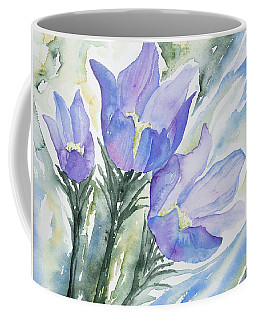 Coffee Mug featuring the painting Watercolor - Pasque Flowers by Cascade Colors