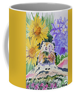 Coffee Mug featuring the painting Watercolor - Pika With Wildflowers by Cascade Colors