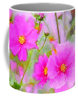 Coffee Mug featuring the painting Watercolor Pink Cosmos by Bonnie Bruno