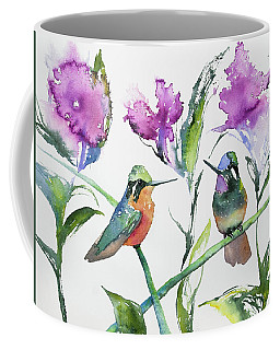Coffee Mug featuring the painting Watercolor - Purple-throated Mountain Gems And Flowers by Cascade Colors