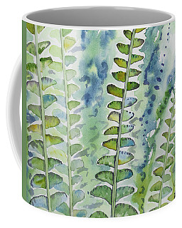 Coffee Mug featuring the painting Watercolor - Rainforest Fern Impressions by Cascade Colors