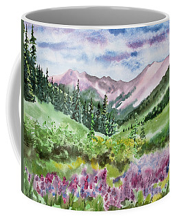 Coffee Mug featuring the painting Watercolor - San Juans Mountain Landscape by Cascade Colors