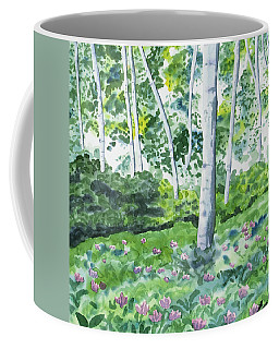 Coffee Mug featuring the painting Watercolor - Spring Forest And Flowers by Cascade Colors