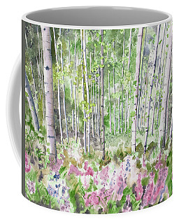 Coffee Mug featuring the painting Watercolor - Summer Aspen Glade by Cascade Colors