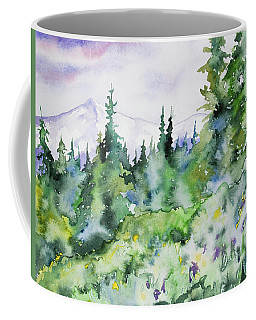Coffee Mug featuring the painting Watercolor - Summer In The Rockies by Cascade Colors