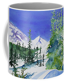 Coffee Mug featuring the painting Watercolor - Sunny Winter Day In The Mountains by Cascade Colors