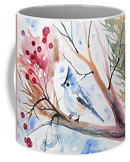 Watercolor - Tufted Titmouse With Winter Berries Coffee Mug