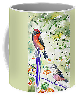 Coffee Mug featuring the painting Watercolor - Vermilion Flycatcher Pair In Quito by Cascade Colors