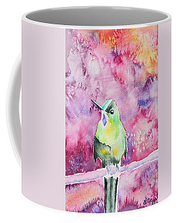 Coffee Mug featuring the painting Watercolor - Violet-tailed Sylph by Cascade Colors