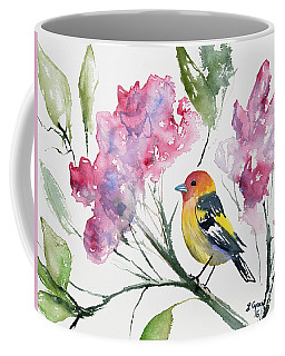 Coffee Mug featuring the painting Watercolor - Western Tanager In A Flowering Tree by Cascade Colors