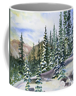 Coffee Mug featuring the painting Watercolor - Winter Snow-covered Landscape by Cascade Colors
