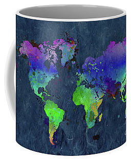 Watercolor World Map Blue Coffee Mug