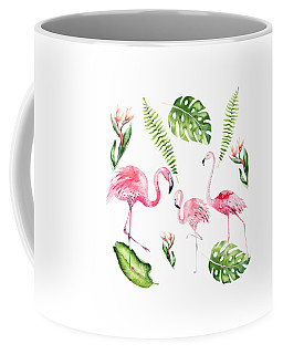 Coffee Mug featuring the painting Watercolour Flamingo Family by Georgeta Blanaru