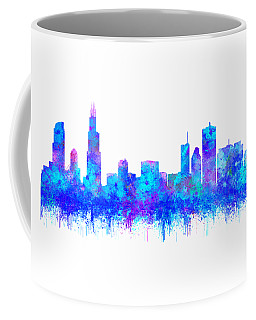Coffee Mug featuring the painting Watercolour Splashes And Dripping Effect Chicago Skyline by Georgeta Blanaru
