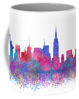 Coffee Mug featuring the digital art Watercolour Splashes New York City Skylines by Georgeta Blanaru