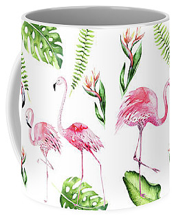 Coffee Mug featuring the painting Watercolour Tropical Beauty Flamingo Family by Georgeta Blanaru