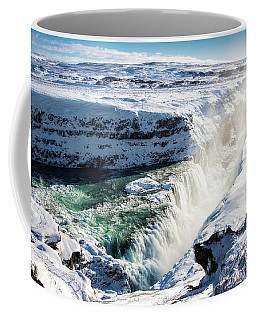 Coffee Mug featuring the photograph Waterfall Gullfoss Iceland In Winter by Matthias Hauser