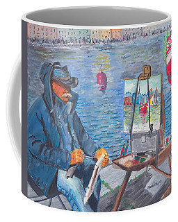 Coffee Mug featuring the painting Waterfront Artist by Quwatha Valentine