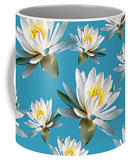 Coffee Mug featuring the mixed media Waterlily Pattern by Christina Rollo