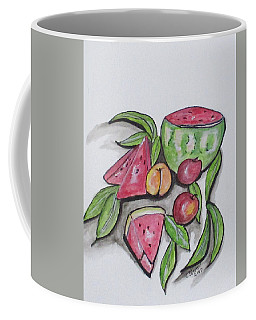 Coffee Mug featuring the painting Watermelons And Apples by Clyde J Kell
