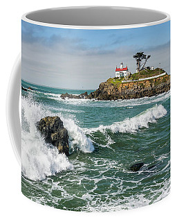 Coffee Mug featuring the photograph Wave Break And The Lighthouse by Greg Nyquist