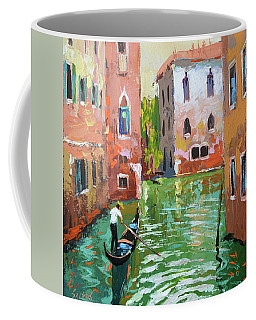 Wave Under The Oars Of The Gondola, City Scene. Coffee Mug