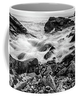 Waves Against A Rocky Shore In Bw Coffee Mug