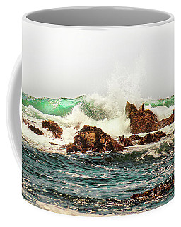 Waves Against The Rocks In Pacific Grove California Coffee Mug