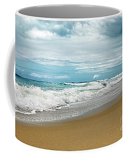 Coffee Mug featuring the photograph Waves Clouds And Sand By Kaye Menner by Kaye Menner