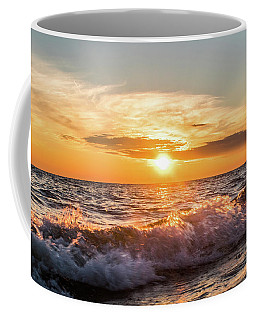 Waves Crashing With Suset Coffee Mug