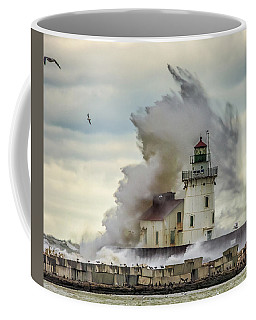 Waves Over The Lighthouse In Cleveland. Coffee Mug