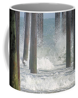 Coffee Mug featuring the photograph Waves Under The Pier by Robert Banach