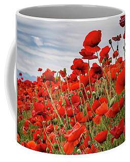 Waving Red Poppies Coffee Mug