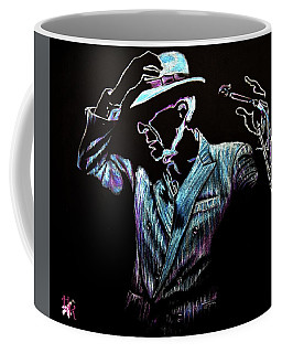 Coffee Mug featuring the drawing way to be free...Leonard Cohen by Heidi Kriel