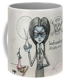 Coffee Mug featuring the drawing Wednesday Alien by Similar Alien