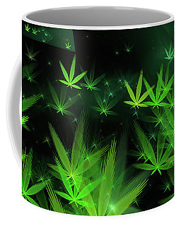 Weed Art - Green Cannabis Symbols Flying Around Coffee Mug