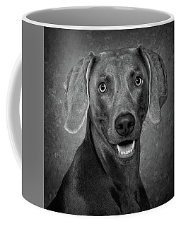 Coffee Mug featuring the photograph Weimaraner In Black And White by Greg Mimbs