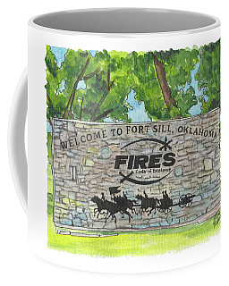 Coffee Mug featuring the painting Welcome Sign Fort Sill by Betsy Hackett