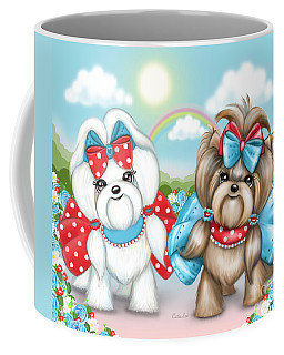 Coffee Mug featuring the painting Welcome Spring Maltese And Yorkie by Catia Lee
