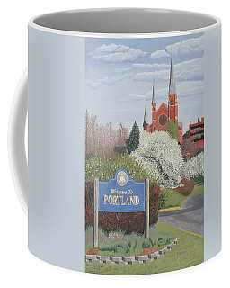 Coffee Mug featuring the painting Welcome To Portland by Dominic White
