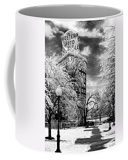Western Auto In Winter Coffee Mug by Steve Karol