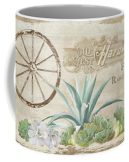 Coffee Mug featuring the painting Western Range 4 Old West Desert Cactus Farm Ranch  Wooden Sign Hardware by Audrey Jeanne Roberts