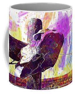 Coffee Mug featuring the digital art Western Skull Farm Trophy Skeleton  by PixBreak Art