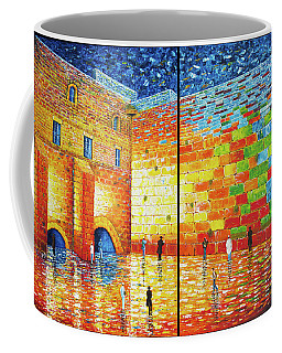 Coffee Mug featuring the painting Western Wall Jerusalem Wailing Wall Acrylic Painting 2 Panels by Georgeta Blanaru