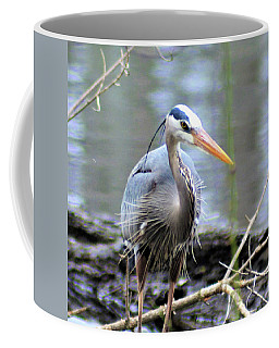 Coffee Mug featuring the photograph Wet Blue Heron by Kathy Kelly