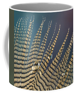 Wet Drop On Wood Duck Feather Coffee Mug