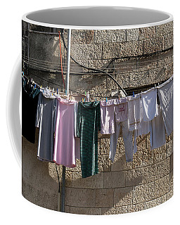 Wet Laundry Extended On Wire Coffee Mug by Yoel Koskas