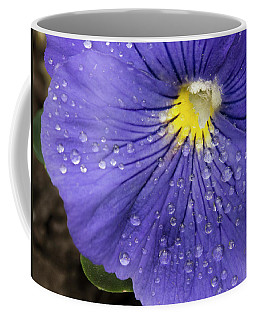 Coffee Mug featuring the photograph Wet Pansy by Jean Noren