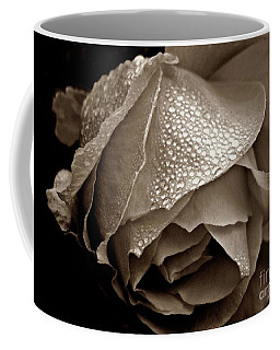 Coffee Mug featuring the photograph Wet Rose In Sepia by Patricia Strand