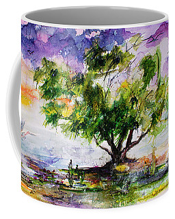 Wetland In The Mist Landscape With Trees And Birds Coffee Mug